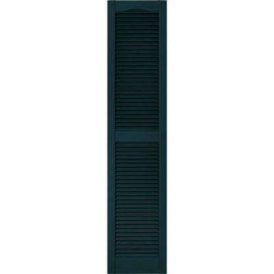 15 in. x 67 in. Louvered Vinyl Exterior Shutters Pair in #166 Midnight Blue