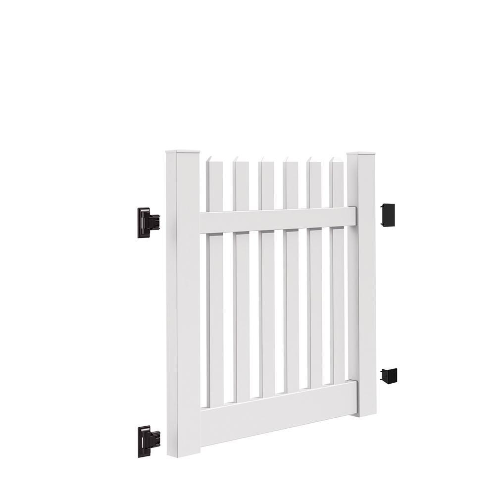 Kettle Straight 4 ft. W x 4 ft. H White Vinyl Un-Assembled Fence Gate