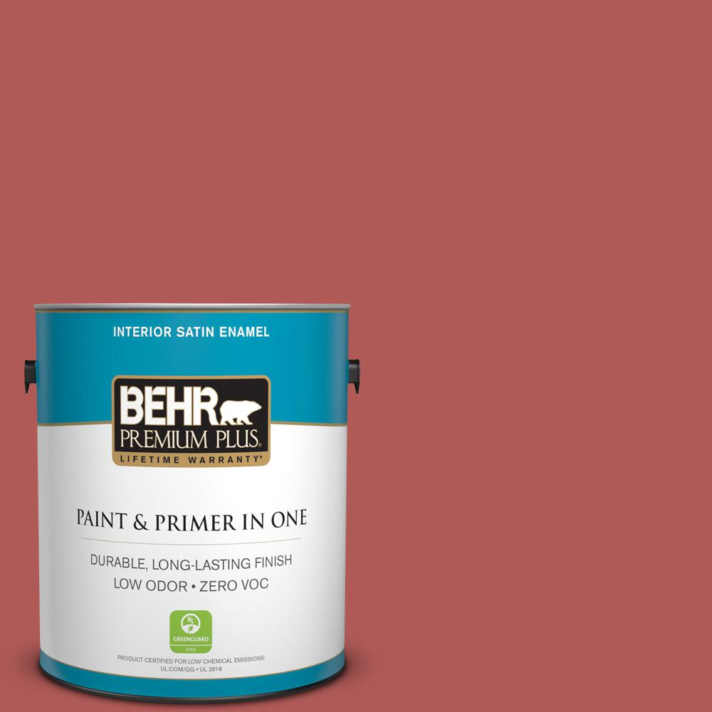 BEHR Premium Plus 1 gal. #160D-6 Pottery Red Satin Enamel Zero VOC Interior Paint and Primer in One