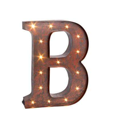 "12 in. H ""B"" Rustic Brown Metal LED Lighted Letter"