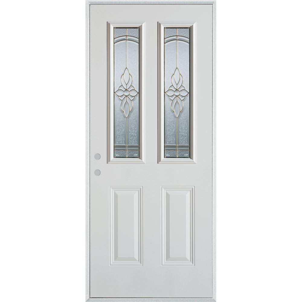 Stanley Doors 37.375 in. x 82.375 in. Traditional Brass 2 Lite 2-Panel Prefinished White Right-Hand Inswing Steel Prehung Front Door