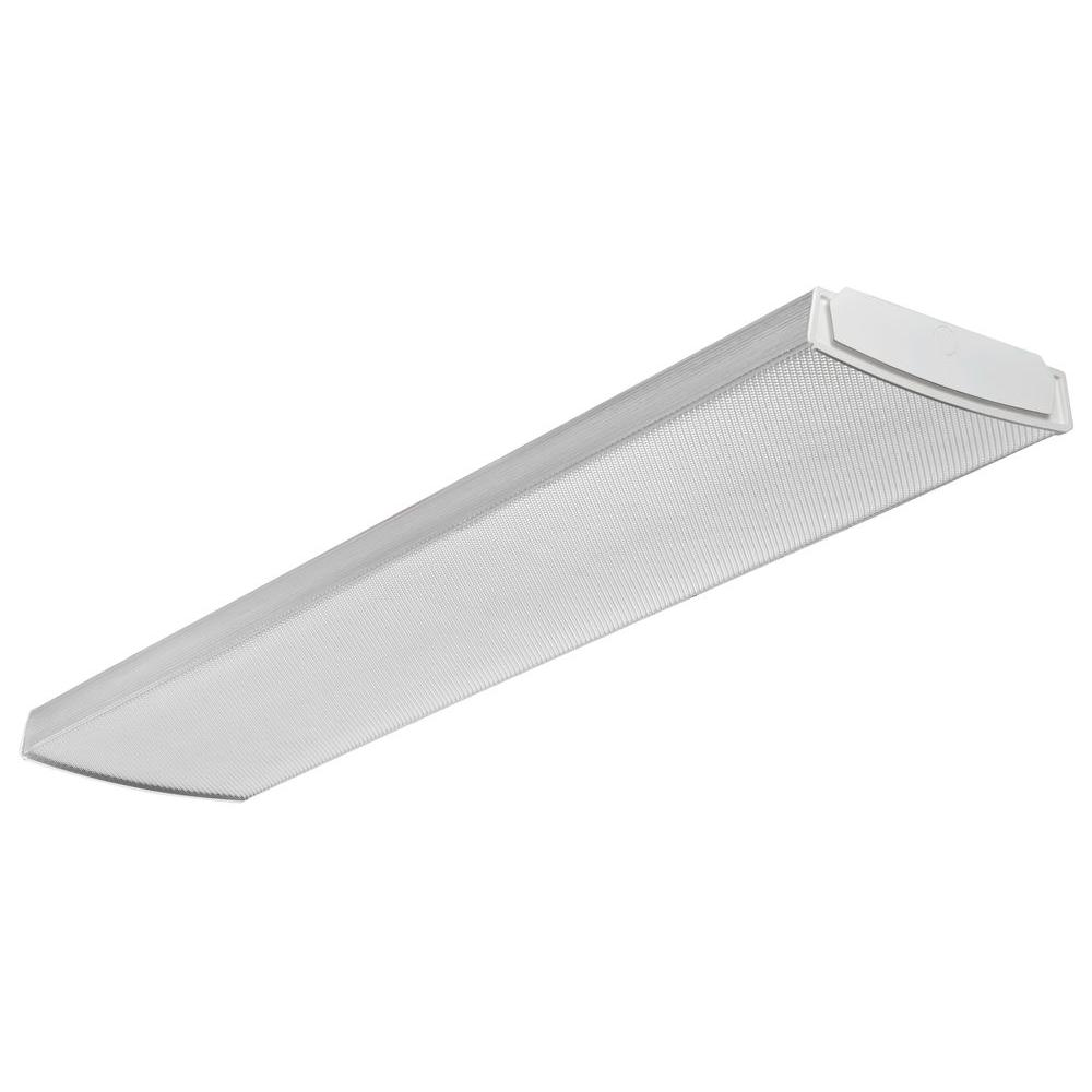 lithonia lighting 4 ft. flush mount ceiling white led wraparound