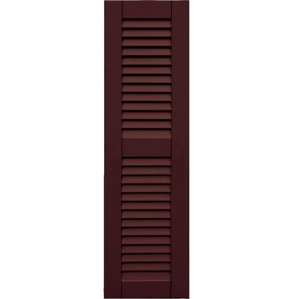 null Wood Composite 12 in. x 42 in. Louvered Shutters Pair #657 Polished Mahogany