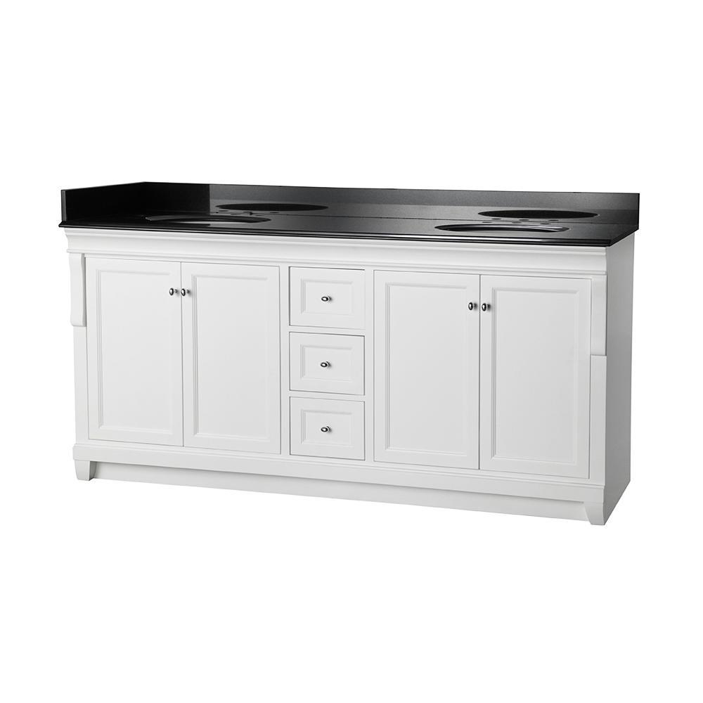 Home Decorators Collection Naples 72 in. W x 22 in. D Double Bath Vanity in White with Granite Vanity Top in Black