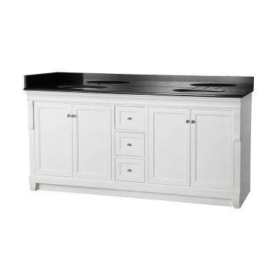 Naples 72 in. W x 22 in. D Double Bath Vanity in White with Granite Vanity Top in Black