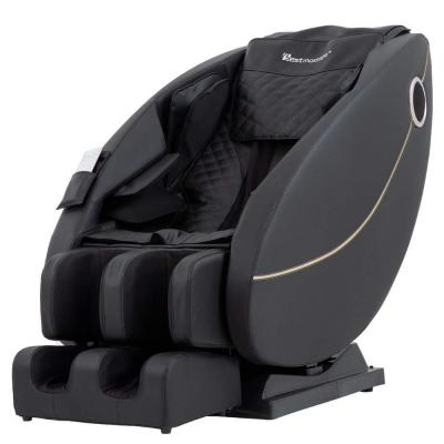 Black Zero Gravity Built-in Heat Therapy Foot Roller LSS-Track Stretch Massage Chair Recliner