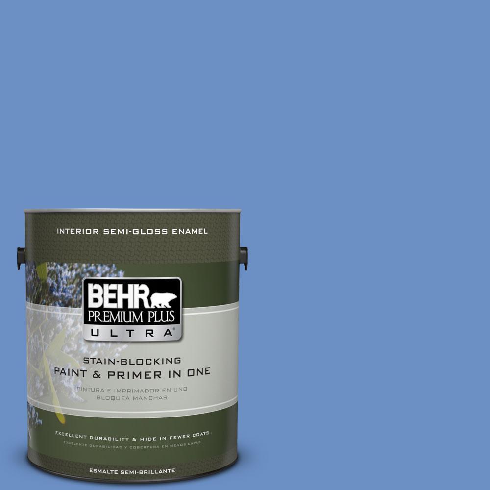 1-gal. #590B-5 Purple Hyacinth Semi-Gloss Enamel Interior Paint