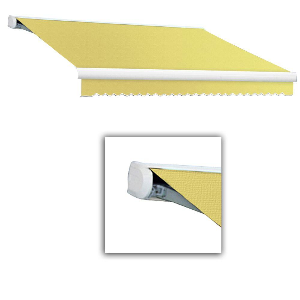 AWNTECH 14 ft. Key West Full-Cassette Left Motor Retractable Awning with Remote (120 in. Projection) in Light Yellow/White