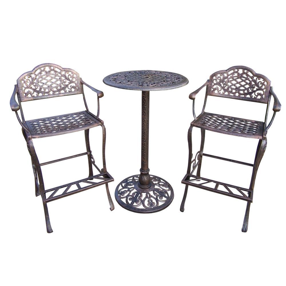 Mississippi 3-Piece Aluminum Outdoor Bar Height Dining Set
