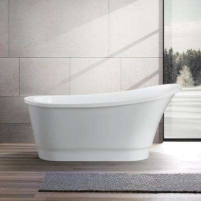 Cannes 67 in. Acrylic Flatbottom Freestanding Bathtub in White