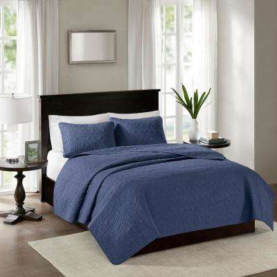 Mansfield 3-Piece Navy King/Cal King Reversible Mini Coverlet Set