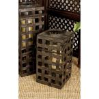 20 in. Black Iron Band Open Weave Rectangular Candle Lantern