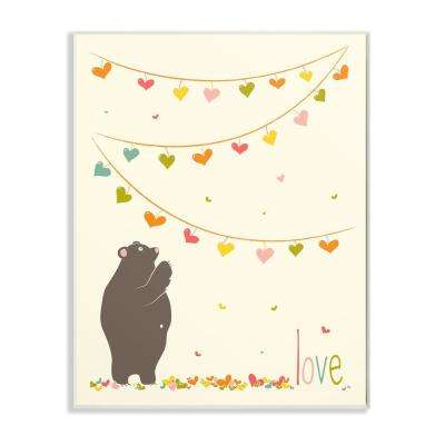 """10 in. x 15 in. """"Love Bear with Heart Garland"""" by Karen Zukowski (Finny And Zook) Printed Wood Wall Art"""