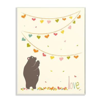 "10 in. x 15 in. ""Love Bear with Heart Garland"" by Karen Zukowski (Finny And Zook) Printed Wood Wall Art"