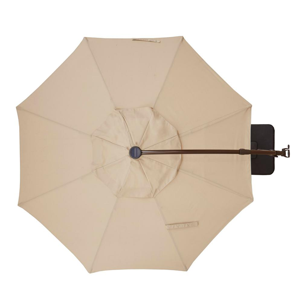 11 ft. Aluminum Cantilever Solar LED Offset Outdoor Patio Umbrella in Putty Tan