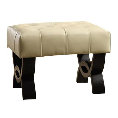 Central Park 24 in. Tufted Cream Bonded Leather Ottoman