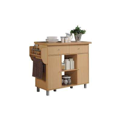 Kitchen Island Beech with Spice Rack and Towel Holder