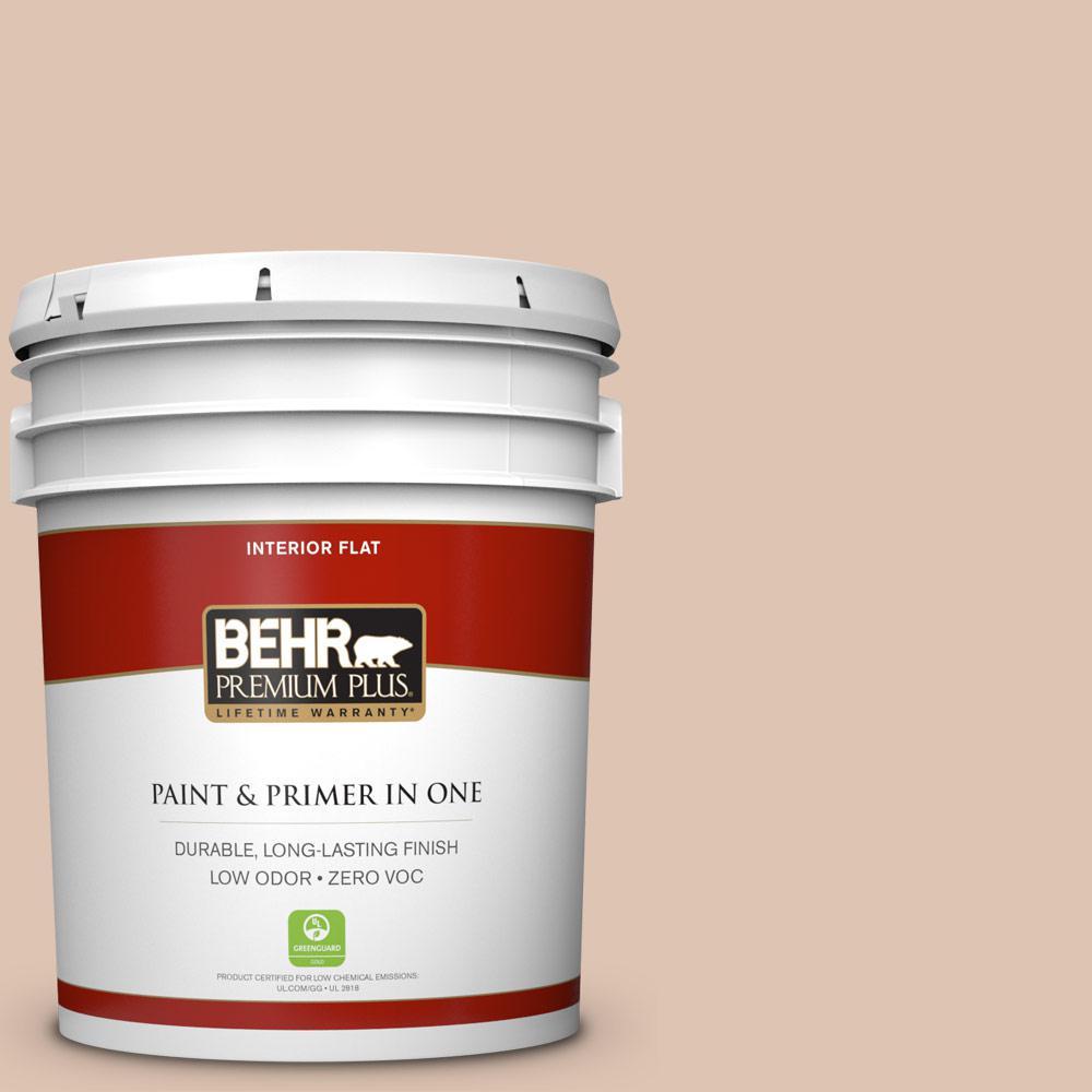 BEHR Premium Plus 5-gal. #280E-2 Arabian Sands Zero VOC Flat Interior Paint