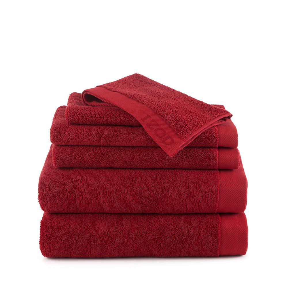IZOD Classic 6-Piece Cotton Bath Towel Set in Pompei Red 079465022483