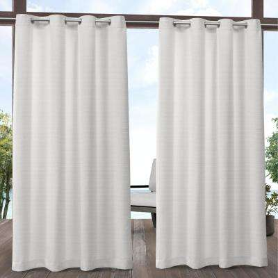 Aztec 54 in. W x 84 in. L Indoor Outdoor Grommet Top Curtain Panel in White (2 Panels)
