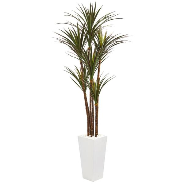 Nearly Natural 6 5 Ft Giant Yucca Artificial Tree In White Planter Uv Resistant 9647 The Home Depot