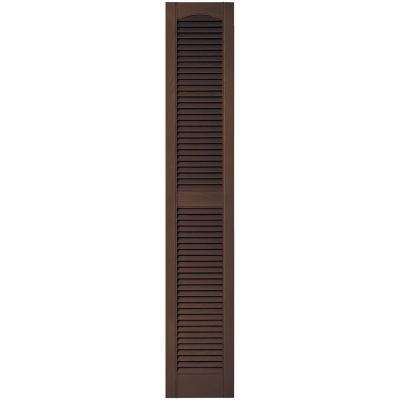 12 in. x 67 in. Louvered Vinyl Exterior Shutters Pair in #009 Federal Brown
