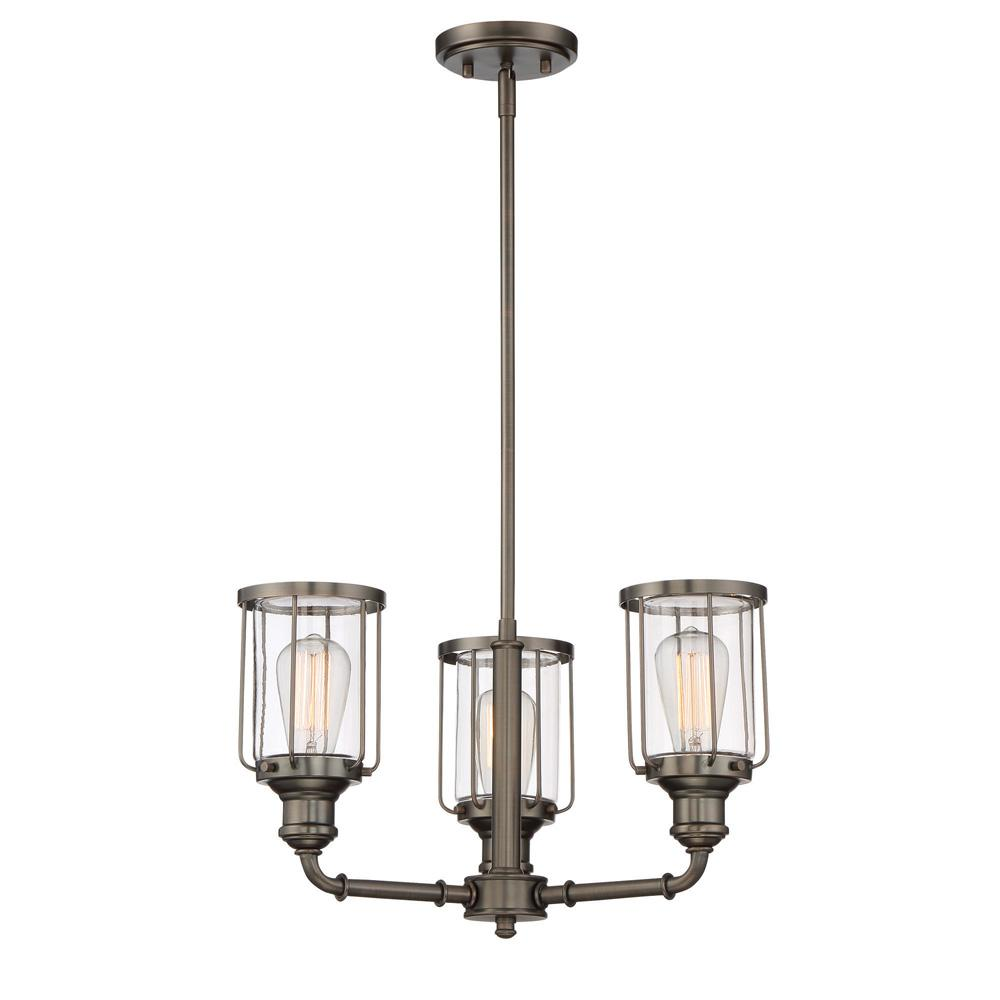 Designers Fountain Anson 3-Light Satin Copper Bronze Interior Chandelier with Clear Glass Shade