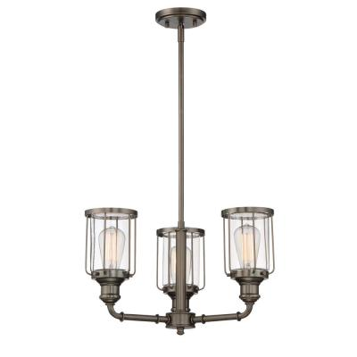 Anson 3-Light Satin Copper Bronze Interior Chandelier with Clear Glass Shade