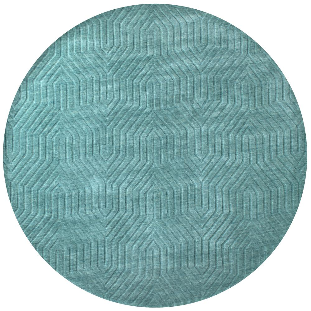 Rizzy Home Technique Dark Teal Solid 8 Ft. X 8 Ft. Round