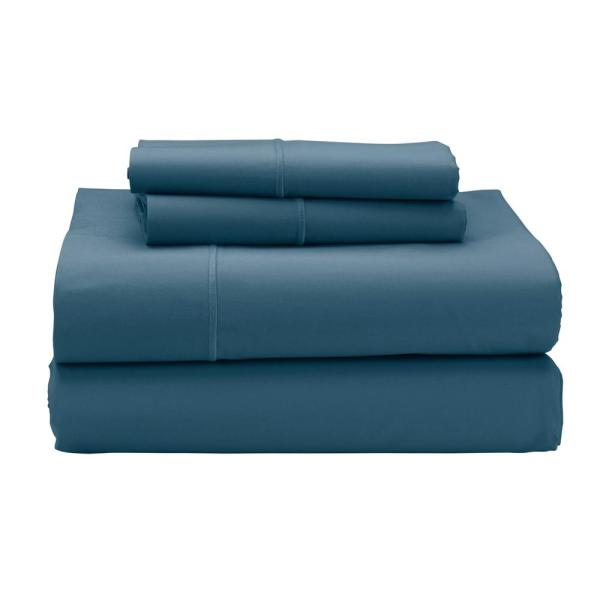 The Company Store Classic Solid 4-Piece Blue Stone 350-Thread Count Sateen