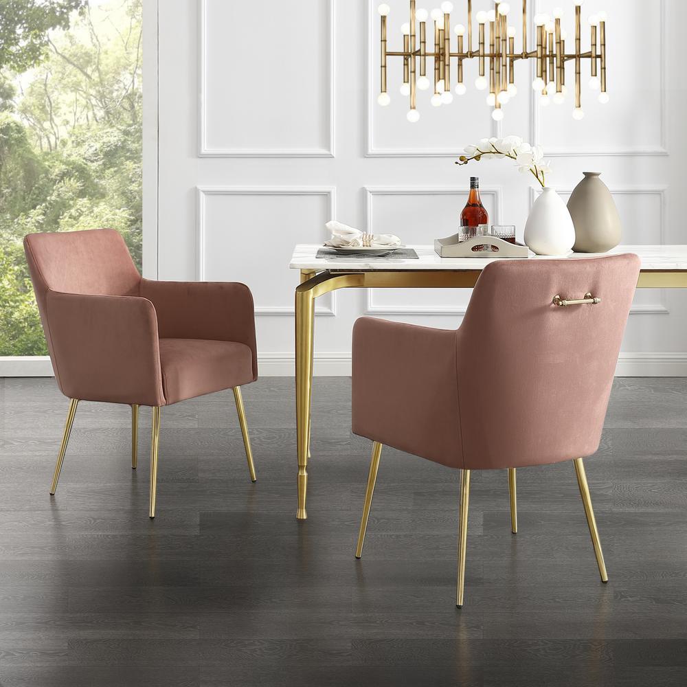 Capelli Blush/Gold Velvet Metal Leg Dining Chair (Set of 2)