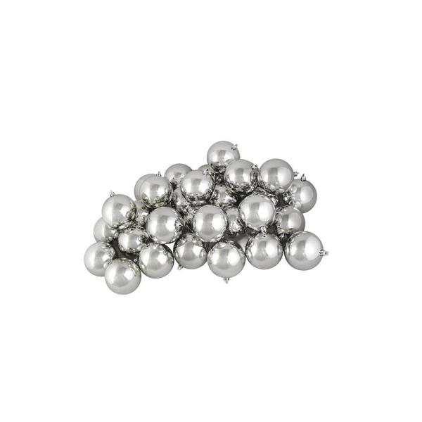 2.5 in. (60 mm) Shiny Silver Splendor Shatterproof Christmas Ball Ornaments (60-Count)