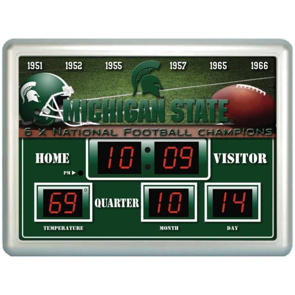 null Michigan State University 14 in. x 19 in. Scoreboard Clock with Temperature