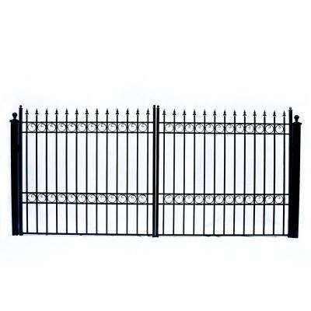Oslo Style 12 ft. x 6 ft. Black Steel Dual Swing Driveway Fence Gate