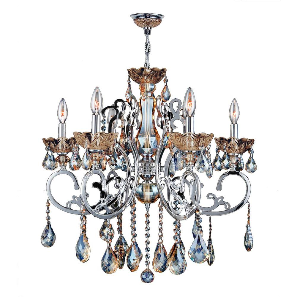 Crystal chandeliers lighting the home depot kronos collection 6 light chrome with golden teak crystal chandelier arubaitofo Gallery