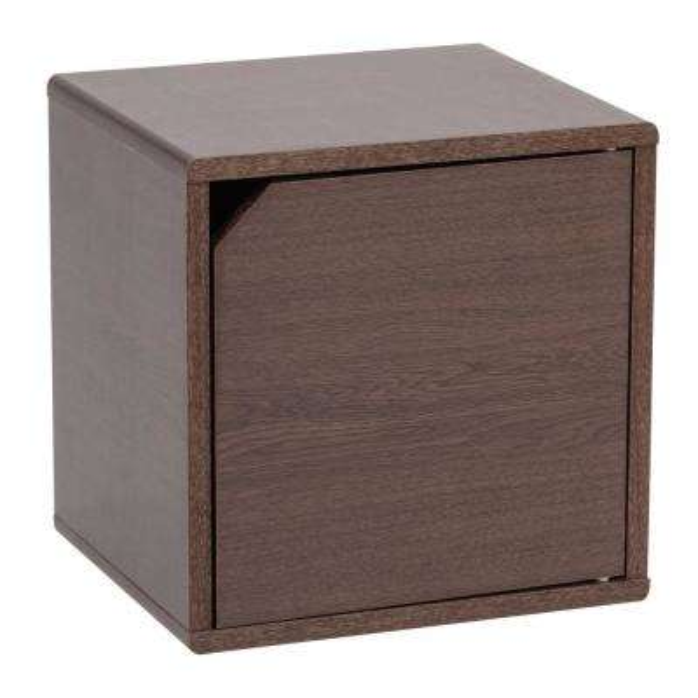 Kuda Series Brown Oak Wood Storage Cube with Door