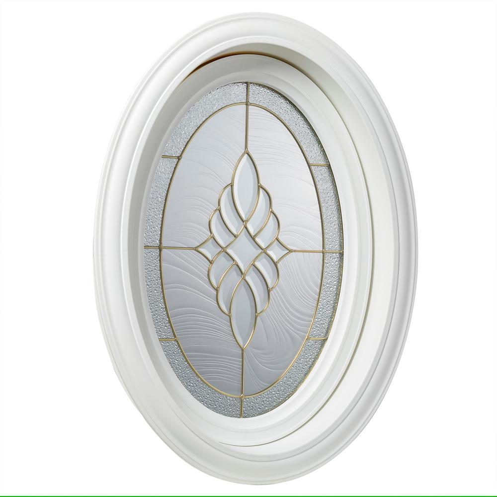 Tafco Windows 195 In X 2825 In White Oval Geometric Vinyl Window In Brass Design