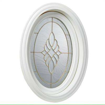 19.5 in. x 28.25 in. White Oval Geometric Vinyl Window in Brass Design