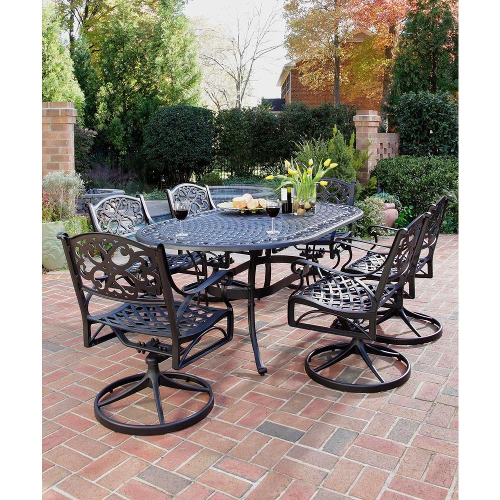 home styles biscayne black 7 piece swivel patio dining set 5554 335 the home depot. Black Bedroom Furniture Sets. Home Design Ideas