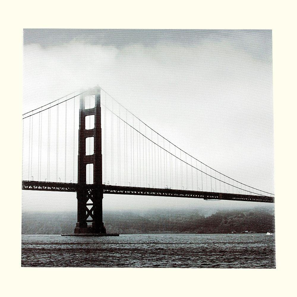 Onsia 24 in. x 24 in. Golden Gate Bridge Museum Wall Art with Wrap Speaker