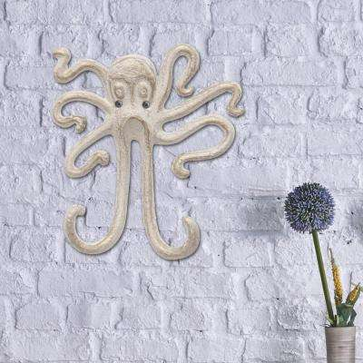 5.5 in. x 6 in. White and Gold Iron Octopus Double Wall Hook