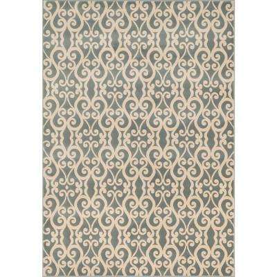 Shelton Lifestyle Collection Mist/Ivory 3 ft. 10 in. x 5 ft. 7 in. Area Rug