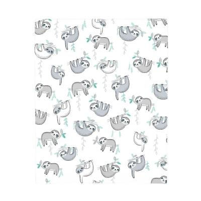 Super Soft Grey, White and Aqua Sloth Polyester Fitted Crib Sheet