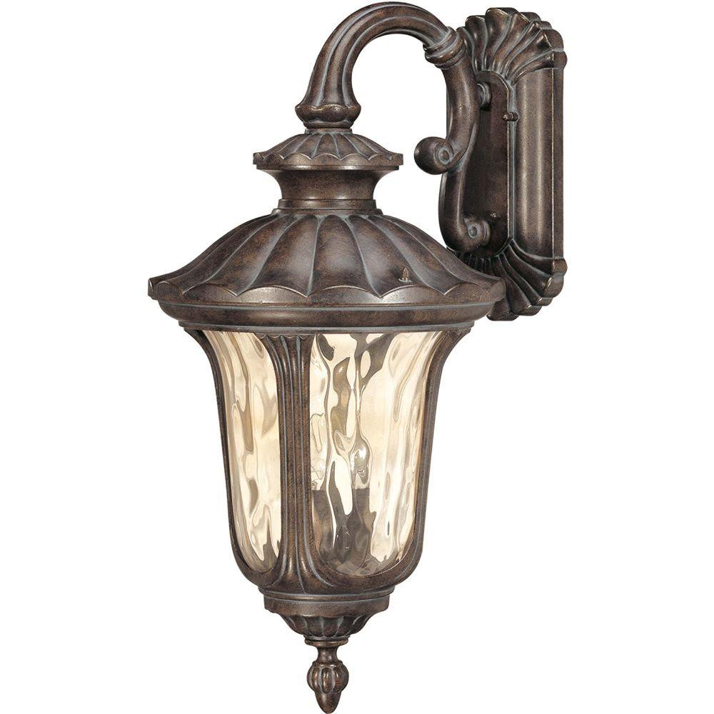 Glomar 3-Light Outdoor Fruitwood Large Wall Lantern with Arm Down and Amber Water Glass
