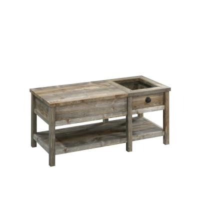 43 in. Rustic Cedar Large Rectangle Composite Coffee Table with Lift Top