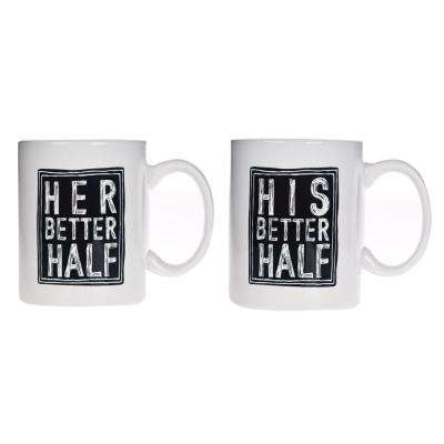 15 oz. White His and Hers Mugs (Set of 2)