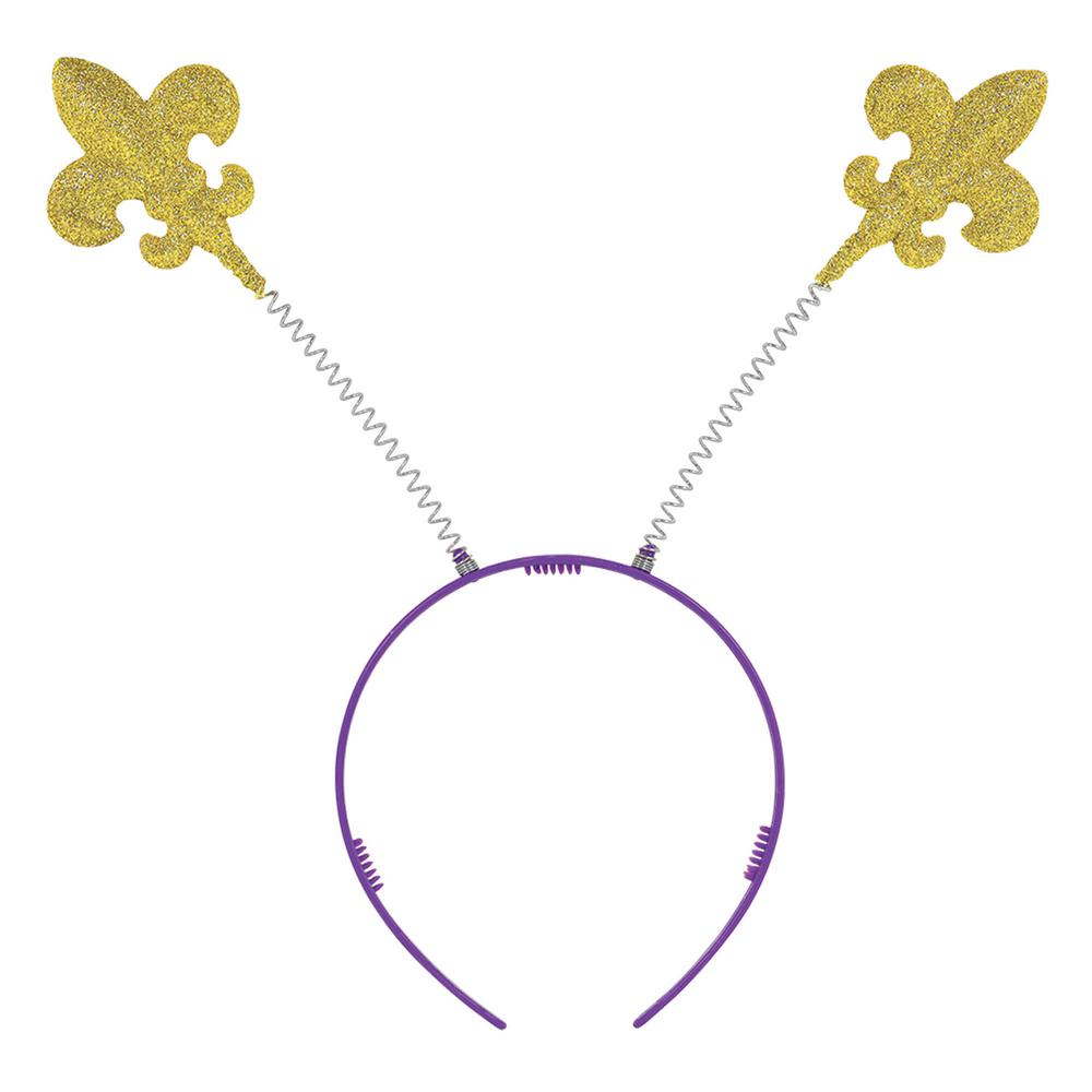 Gold Plastic Fleur de Lis Mardi Gras Head Bopper (7-Pack) Glittery Fleur de Lis head boppers let everyone at Mardi Gras know that you came to party and you just wont be denied. Get your party game going strong with these classic Fleur de Lis gold head boppers. Glittery and bouncy, these icons of Mardi Gras are affixed to your head by sings and a purple headband.