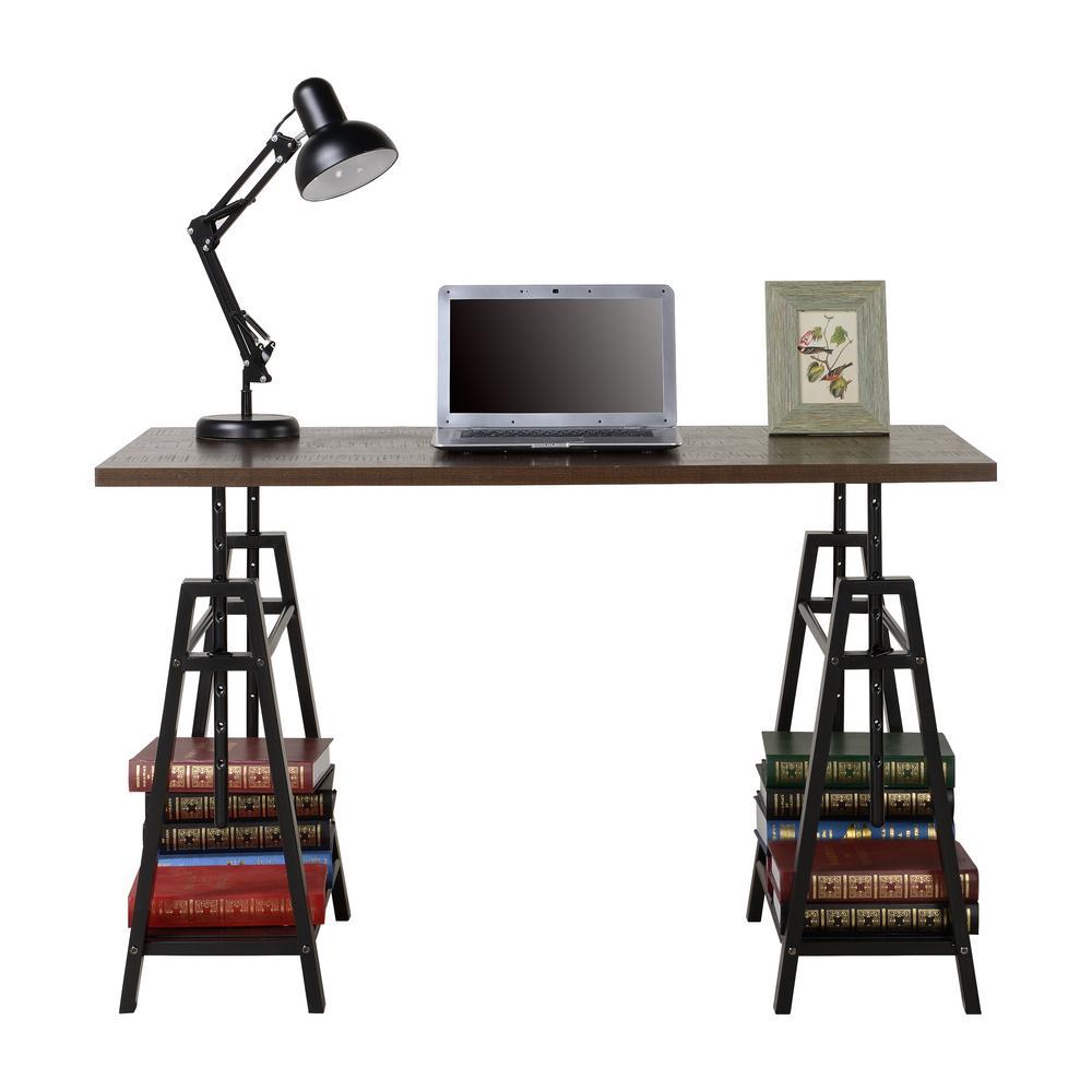 Distressed Mocha Height Adjustable Desk