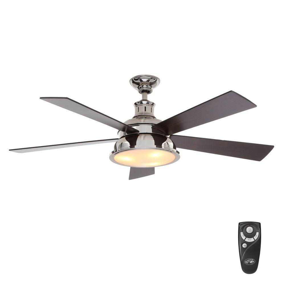 Hampton Bay Marlton 52 in. Indoor  Liquid Nickel Ceiling Fan with Light Kit and Remote Control