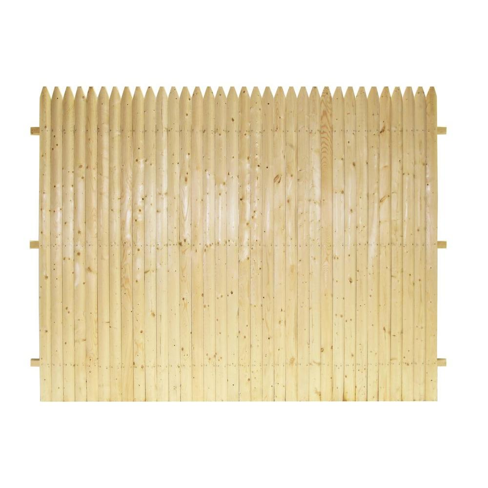 6 ft. x 8 ft. Natural SPF 3 in. Stockade Fence